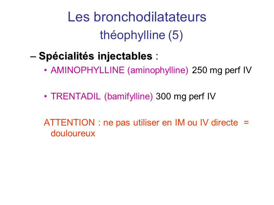 Les bronchodilatateurs théophylline (5) –Spécialités injectables –Spécialités injectables : •AMINOPHYLLINE (aminophylline) 250 mg perf IV •TRENTADIL (