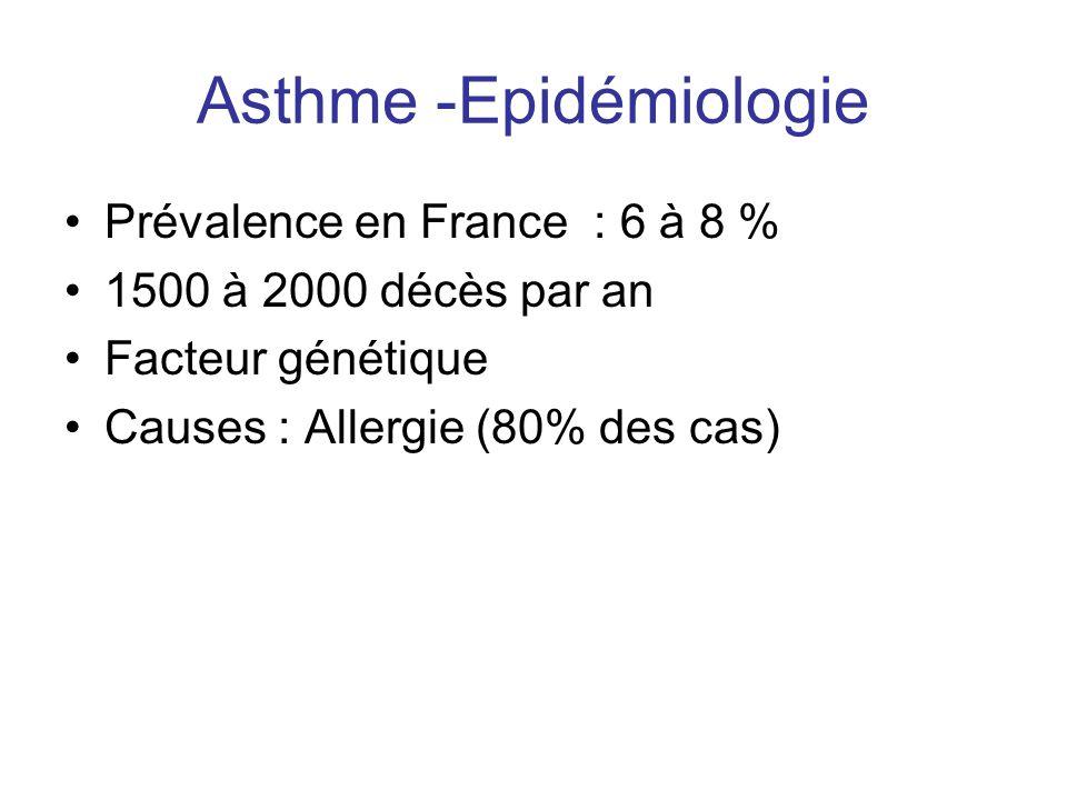 Asthme -Epidémiologie •Prévalence en France : 6 à 8 % •1500 à 2000 décès par an •Facteur génétique •Causes : Allergie (80% des cas)
