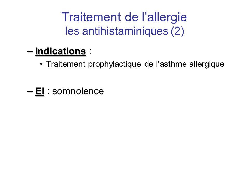 Traitement de l'allergie les antihistaminiques (2) –Indications –Indications : •Traitement prophylactique de l'asthme allergique –EI –EI : somnolence