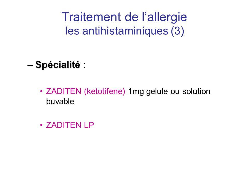 Traitement de l'allergie les antihistaminiques (3) –Spécialité –Spécialité : •ZADITEN (ketotifene) 1mg gelule ou solution buvable •ZADITEN LP