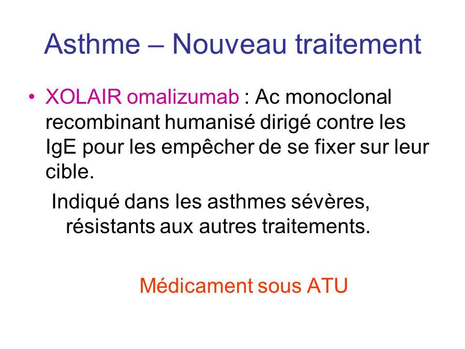 Asthme – Nouveau traitement •XOLAIR omalizumab : Ac monoclonal recombinant humanisé dirigé contre les IgE pour les empêcher de se fixer sur leur cible