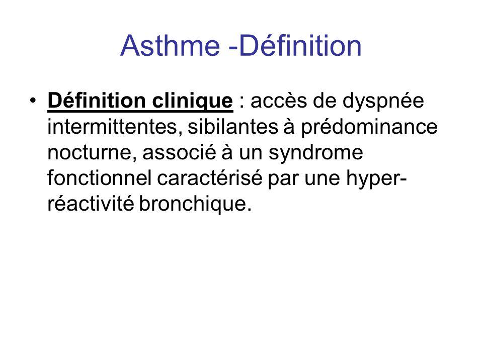 Asthme -Définition •Définition clinique : accès de dyspnée intermittentes, sibilantes à prédominance nocturne, associé à un syndrome fonctionnel carac