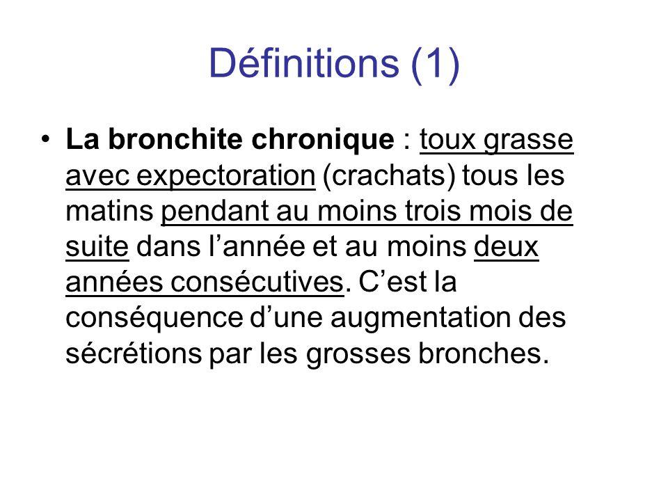 Définitions (1) •La bronchite chronique : toux grasse avec expectoration (crachats) tous les matins pendant au moins trois mois de suite dans l'année