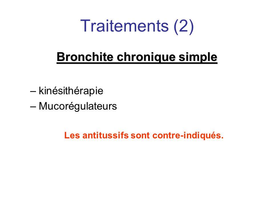 Traitements (2) Bronchite chronique simple –kinésithérapie –Mucorégulateurs Les antitussifs sont contre-indiqués.
