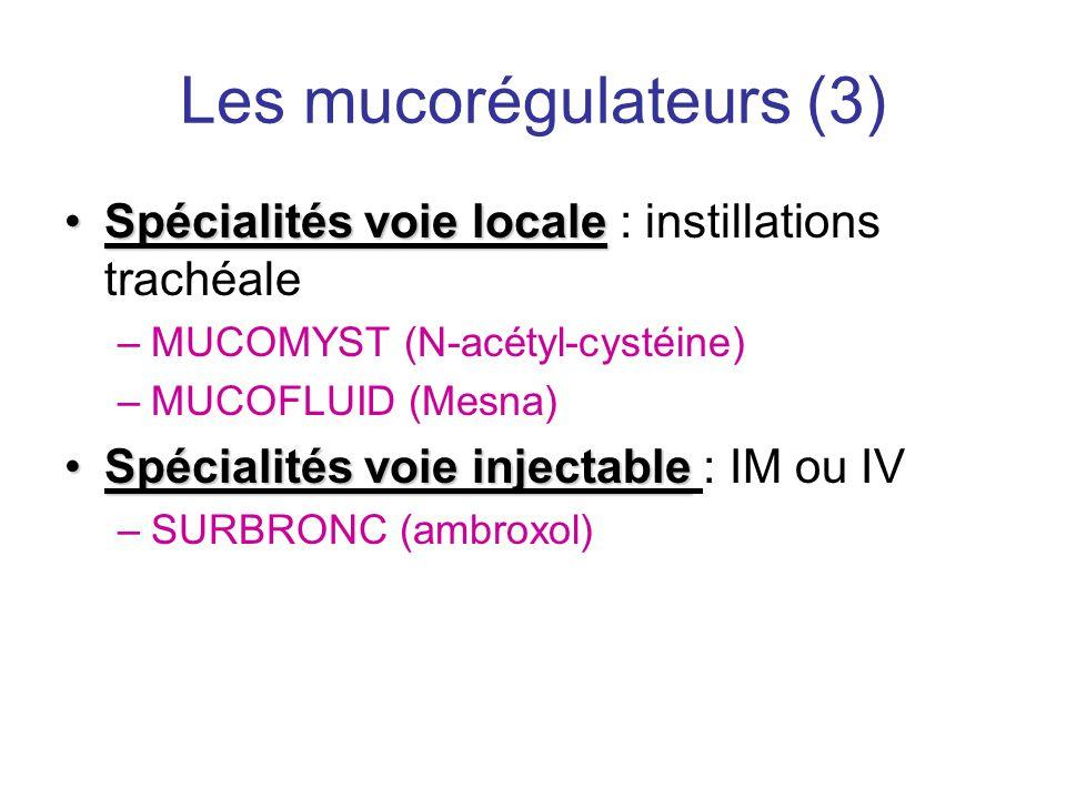 Les mucorégulateurs (3) •Spécialités voie locale •Spécialités voie locale : instillations trachéale –MUCOMYST (N-acétyl-cystéine) –MUCOFLUID (Mesna) •