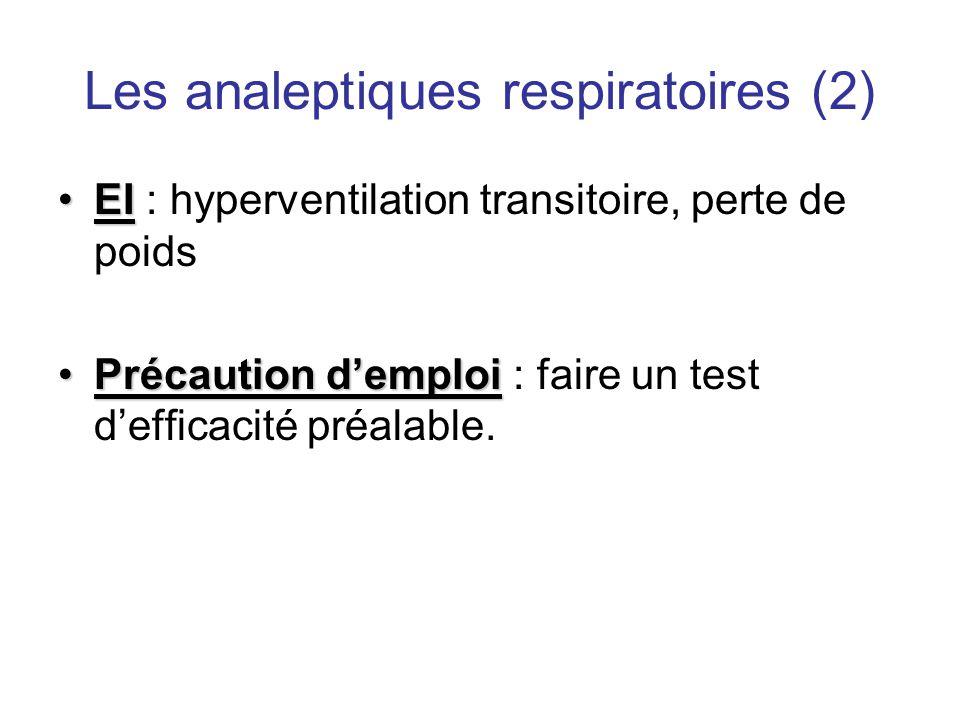 Les analeptiques respiratoires (2) •EI •EI : hyperventilation transitoire, perte de poids •Précaution d'emploi •Précaution d'emploi : faire un test d'