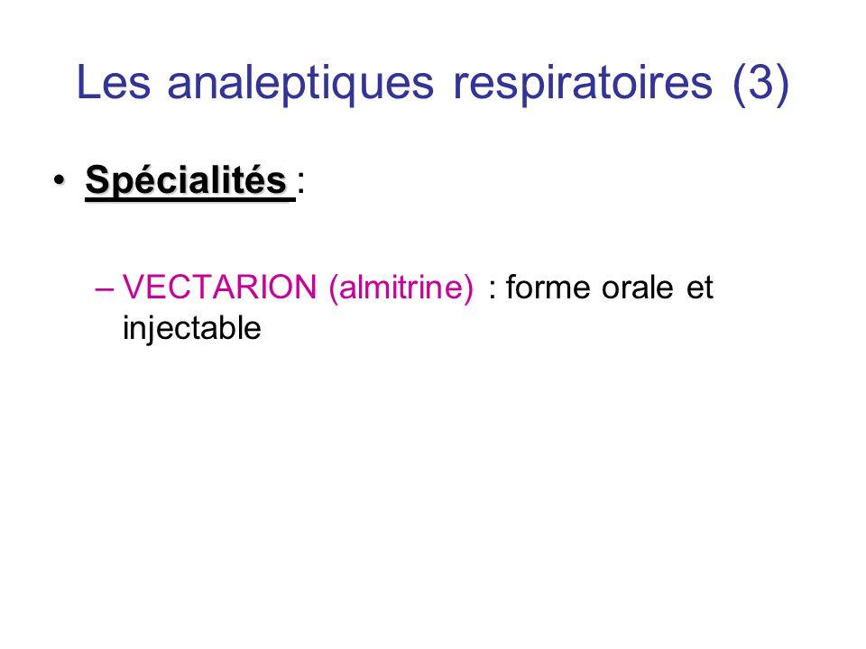 Les analeptiques respiratoires (3) •Spécialités •Spécialités : –VECTARION (almitrine) : forme orale et injectable