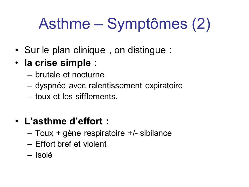 Asthme – Symptômes (2) •Sur le plan clinique, on distingue : •la crise simple : –brutale et nocturne –dyspnée avec ralentissement expiratoire –toux et