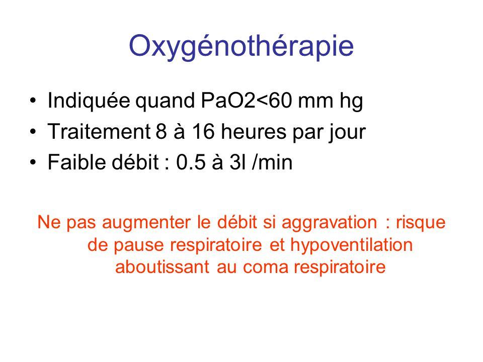 Oxygénothérapie •Indiquée quand PaO2<60 mm hg •Traitement 8 à 16 heures par jour •Faible débit : 0.5 à 3l /min Ne pas augmenter le débit si aggravatio