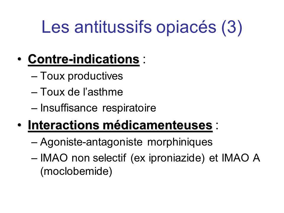 Les antitussifs opiacés (3) •Contre-indications •Contre-indications : –Toux productives –Toux de l'asthme –Insuffisance respiratoire •Interactions méd