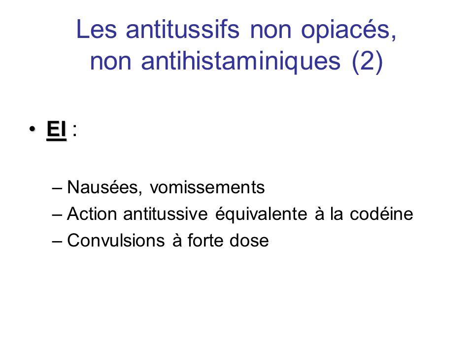 Les antitussifs non opiacés, non antihistaminiques (2) •EI •EI : –Nausées, vomissements –Action antitussive équivalente à la codéine –Convulsions à fo