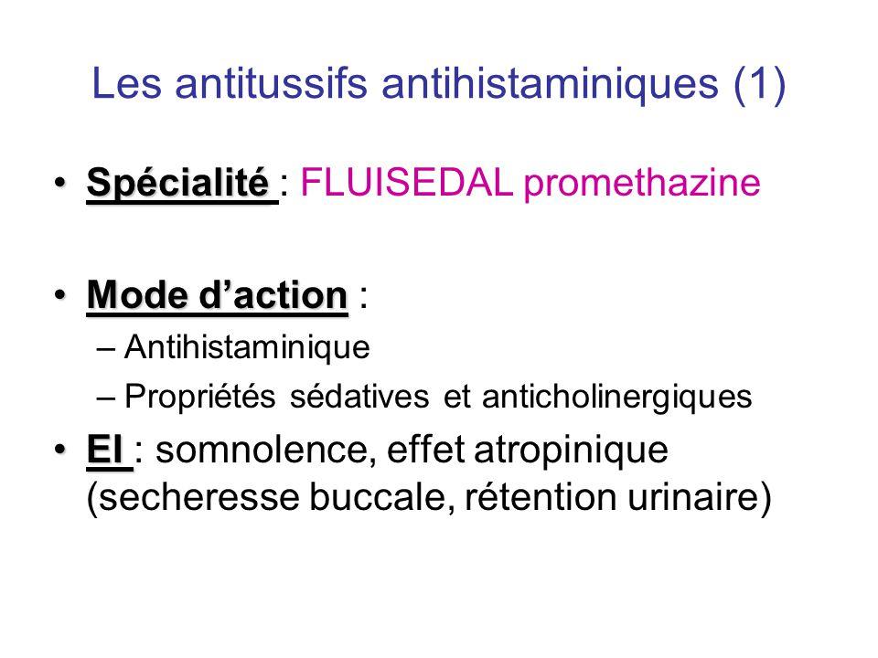 Les antitussifs antihistaminiques (1) •Spécialité •Spécialité : FLUISEDAL promethazine •Mode d'action •Mode d'action : –Antihistaminique –Propriétés s