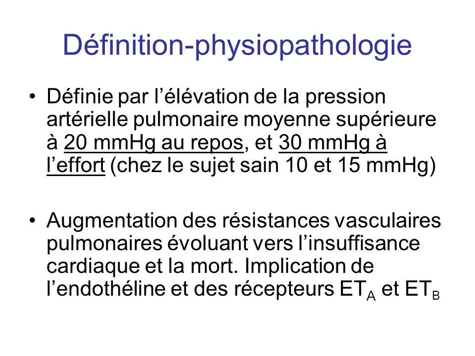 Définition-physiopathologie •Définie par l'élévation de la pression artérielle pulmonaire moyenne supérieure à 20 mmHg au repos, et 30 mmHg à l'effort