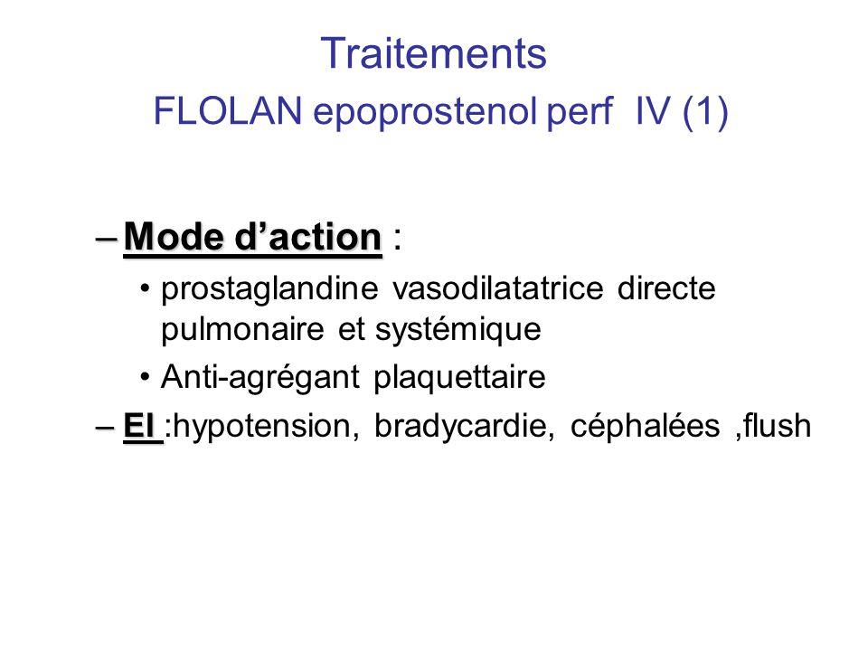 Traitements FLOLAN epoprostenol perf IV (1) –Mode d'action –Mode d'action : •prostaglandine vasodilatatrice directe pulmonaire et systémique •Anti-agr