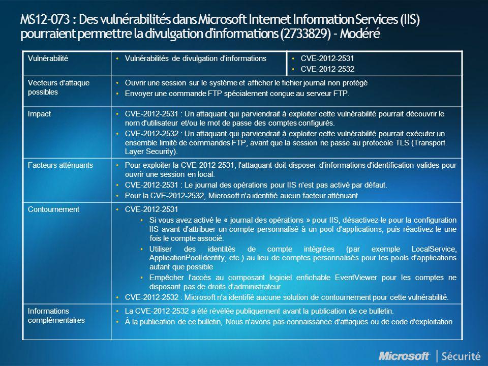 MS12-073 : Des vulnérabilités dans Microsoft Internet Information Services (IIS) pourraient permettre la divulgation d informations (2733829) - Modéré Vulnérabilité•Vulnérabilités de divulgation d informations•CVE-2012-2531 •CVE-2012-2532 Vecteurs d attaque possibles •Ouvrir une session sur le système et afficher le fichier journal non protégé •Envoyer une commande FTP spécialement conçue au serveur FTP.
