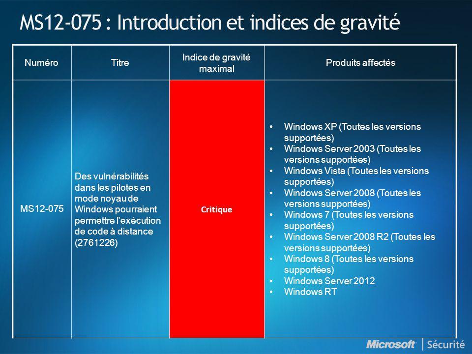 MS12-075 : Introduction et indices de gravité NuméroTitre Indice de gravité maximal Produits affectés MS12-075 Des vulnérabilités dans les pilotes en mode noyau de Windows pourraient permettre l exécution de code à distance (2761226) Critique •Windows XP (Toutes les versions supportées) •Windows Server 2003 (Toutes les versions supportées) •Windows Vista (Toutes les versions supportées) •Windows Server 2008 (Toutes les versions supportées) •Windows 7 (Toutes les versions supportées) •Windows Server 2008 R2 (Toutes les versions supportées) •Windows 8 (Toutes les versions supportées) •Windows Server 2012 •Windows RT