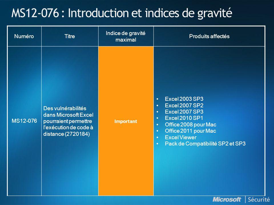MS12-076 : Introduction et indices de gravité NuméroTitre Indice de gravité maximal Produits affectés MS12-076 Des vulnérabilités dans Microsoft Excel pourraient permettre l exécution de code à distance (2720184) Important •Excel 2003 SP3 •Excel 2007 SP2 •Excel 2007 SP3 •Excel 2010 SP1 •Office 2008 pour Mac •Office 2011 pour Mac •Excel Viewer •Pack de Compatibilité SP2 et SP3