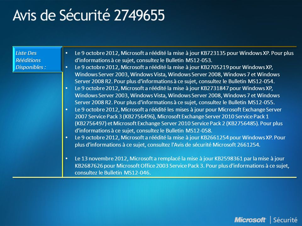 Novembre 2012 - Mises à jour Non relatives à la sécurité ArticleTitleClassificationDistribution KB905866Update for Windows Mail Junk E-mail Filter The November 2012 release of the Windows Mail Junk E-mail Filter UpdateCatalog, AU, WSUS KB982726Definition Update for Microsoft Office 2010 Definition Update Catalog, AU, WSUS KB2687407Update for Microsoft Office Outlook 2007 Junk Email Filter Critical UpdateCatalog, AU, WSUS KB890830Windows Malicious Software Removal Tool The November 2012 release of the Windows Malicious Software Removal Tool Update RollupCatalog, AU, WSUS KB2761217 add the Calibri Light and Calibri Light Italic fonts to Windows 7 and Windows Server 2008 R2 UpdateCatalog, AU, WSUS KB2750841 An IPv6 readiness update is available for Windows 7 and for Windows Server 2008 R2 UpdateCatalog, WSUS KB2763523 Update for Windows 7 and Windows Server 2008 R2 UpdateCatalog, AU, WSUS KB2770917 Windows 8 and Windows Server 2012 cumulative update: November 2012 Critical UpdateCatalog, AU, WSUS KB2769165 An update is available for Microsoft files that contain a digital signature in Windows 8 and Windows Server 2012 Critical UpdateCatalog, AU, WSUS KB2772501 Update for Windows 8 Critical UpdateCatalog, AU, WSUS KB2769034 Update for Windows 8 and Windows Server 2012 UpdateCatalog, AU, WSUS Info: KB894199 Description of Software Update Services and Windows Server Update Services changes in content for 2012 http://support.microsoft.com/kb/894199