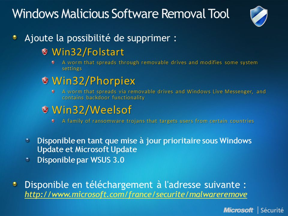 Windows Malicious Software Removal Tool Ajoute la possibilité de supprimer :Win32/Folstart A worm that spreads through removable drives and modifies s
