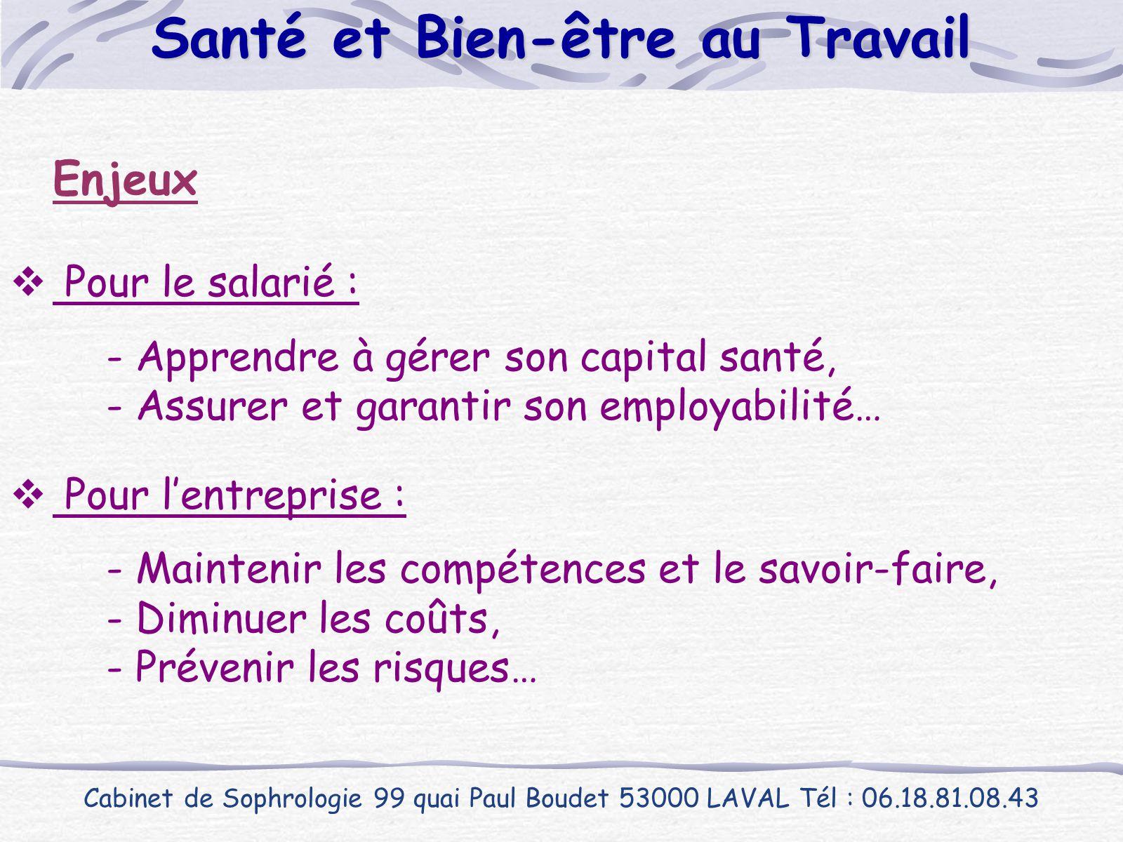 Enjeux  Pour le salarié : - Apprendre à gérer son capital santé, - Assurer et garantir son employabilité…  Pour l'entreprise : - Maintenir les compé