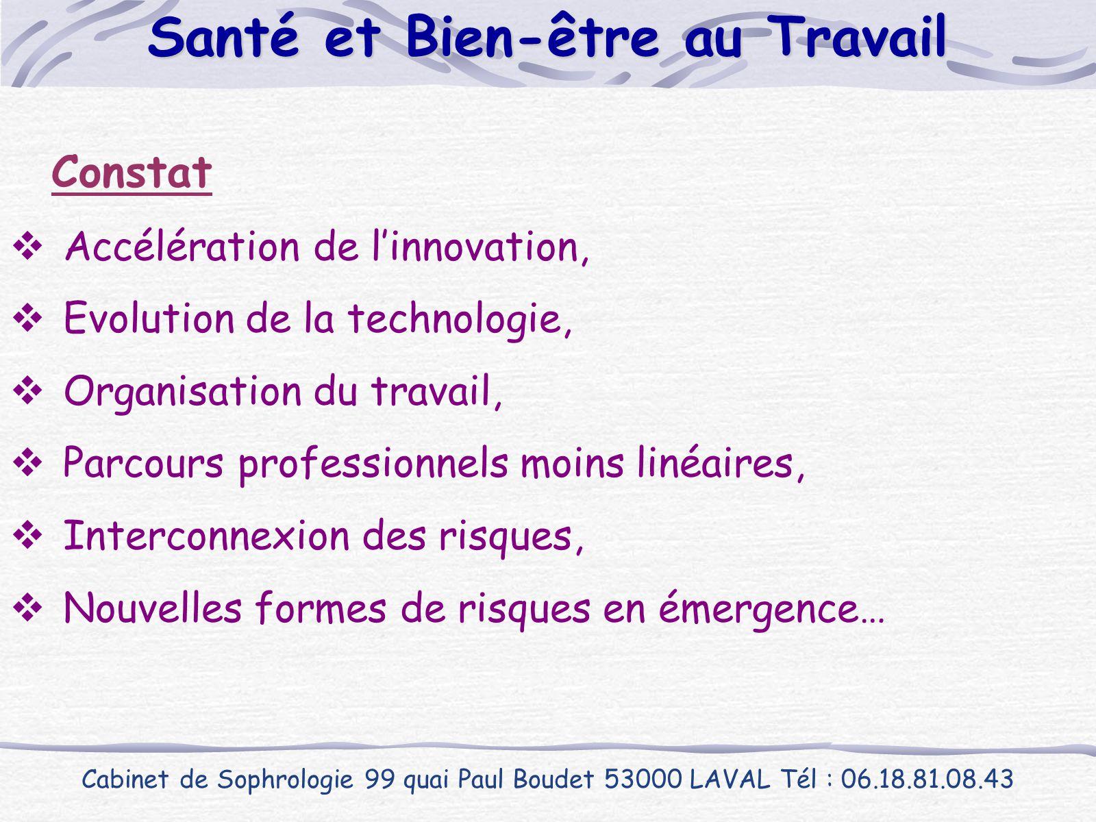 Constat  Accélération de l'innovation,  Evolution de la technologie,  Organisation du travail,  Parcours professionnels moins linéaires,  Interco