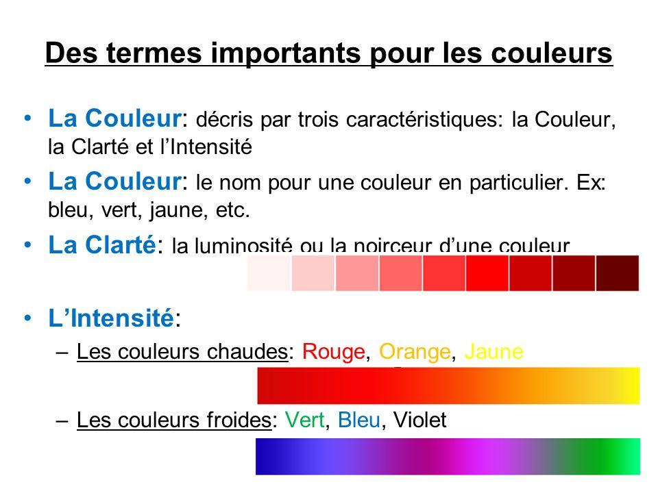 Des termes importants pour les couleurs •La Couleur: décris par trois caractéristiques: la Couleur, la Clarté et l'Intensité •La Couleur: le nom pour