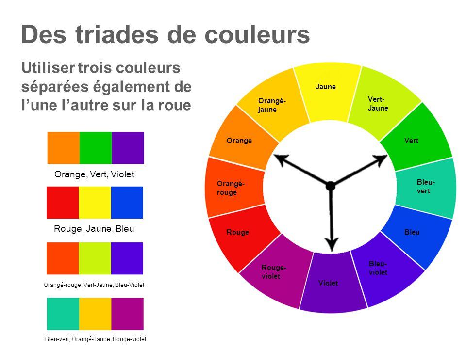 Des triades de couleurs Jaune Vert- Jaune Vert Bleu- vert Bleu Bleu- violet Violet Rouge- violet Rouge Orange Orangé- jaune Orangé- rouge Utiliser tro