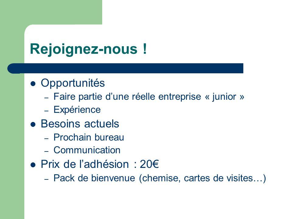 Rejoignez-nous !  Opportunités – Faire partie d'une réelle entreprise « junior » – Expérience  Besoins actuels – Prochain bureau – Communication  P