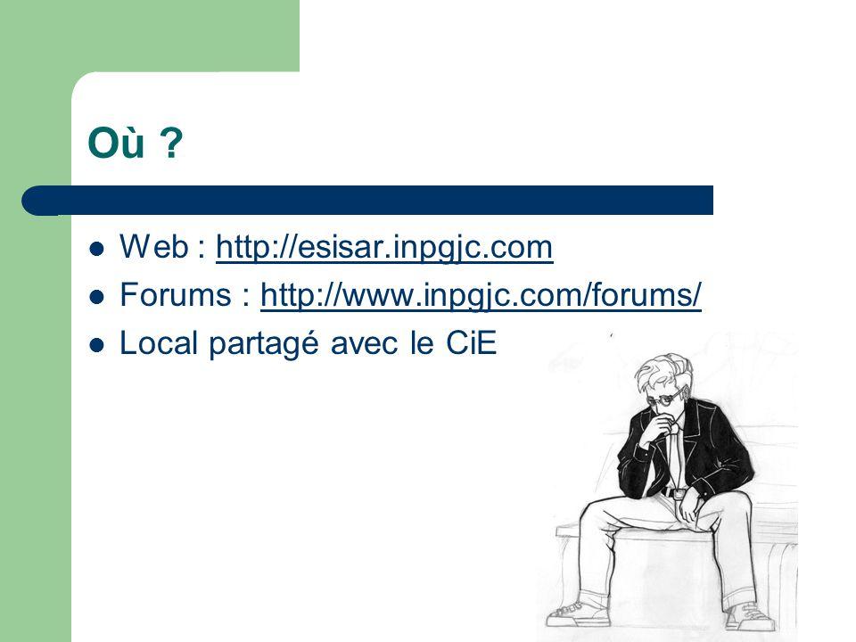 Où ?  Web : http://esisar.inpgjc.comhttp://esisar.inpgjc.com  Forums : http://www.inpgjc.com/forums/http://www.inpgjc.com/forums/  Local partagé av