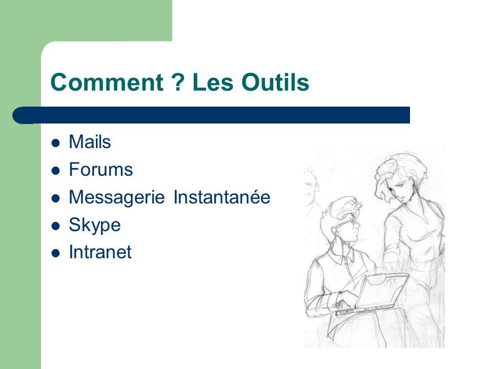 Comment ? Les Outils  Mails  Forums  Messagerie Instantanée  Skype  Intranet