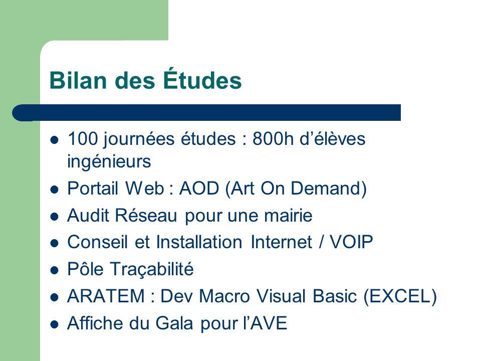 Bilan des Études  100 journées études : 800h d'élèves ingénieurs  Portail Web : AOD (Art On Demand)  Audit Réseau pour une mairie  Conseil et Inst
