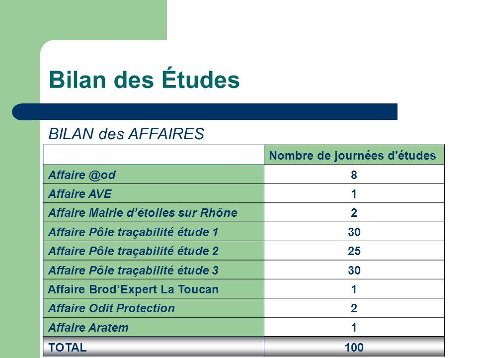 Bilan des Études BILAN des AFFAIRES Nombre de journées d'études Affaire @od8 Affaire AVE1 Affaire Mairie d'étoiles sur Rhône2 Affaire Pôle traçabilité