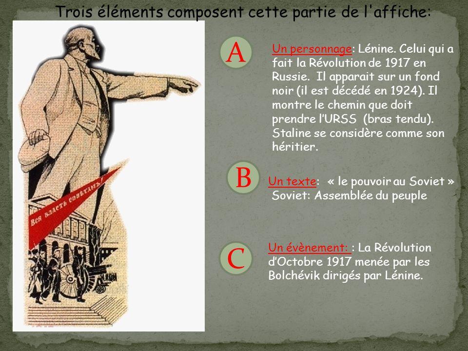 A B C Trois éléments composent cette partie de l'affiche: Un personnage: Lénine. Celui qui a fait la Révolution de 1917 en Russie. Il apparait sur un