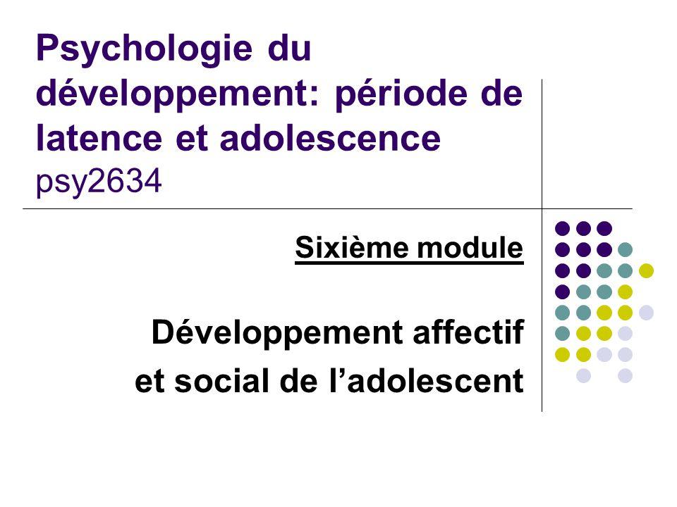 Psychologie du développement: période de latence et adolescence psy2634 Sixième module Développement affectif et social de l'adolescent