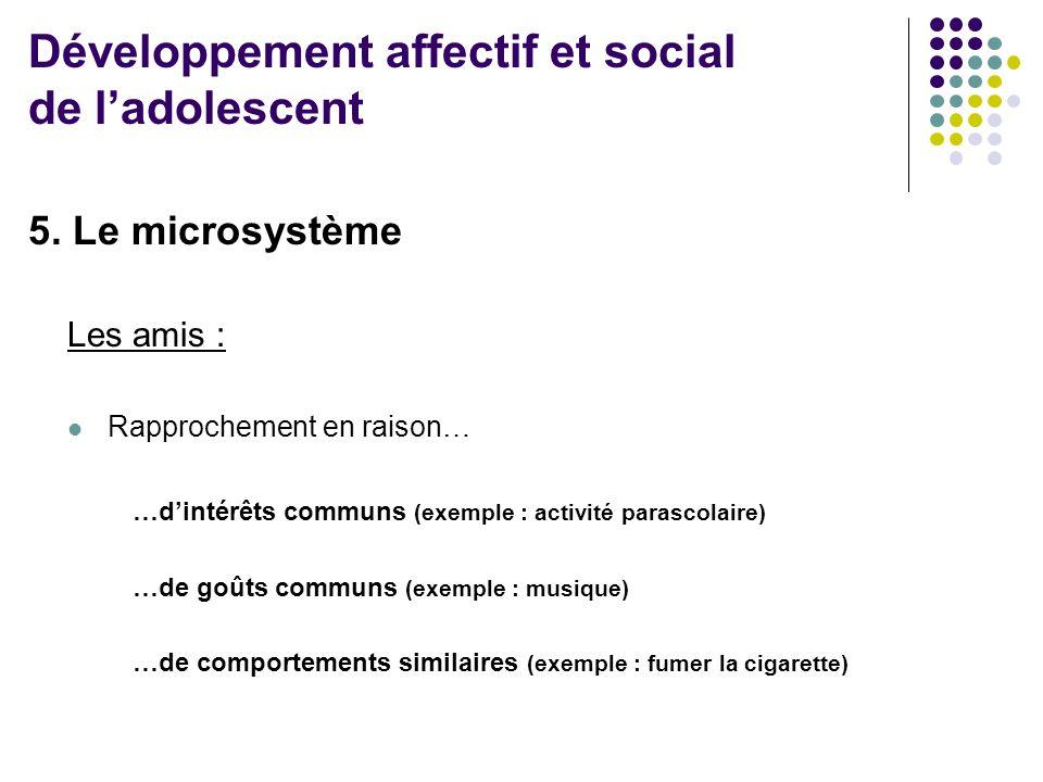 5. Le microsystème Les amis :  Rapprochement en raison… …d'intérêts communs (exemple : activité parascolaire) …de goûts communs (exemple : musique) …