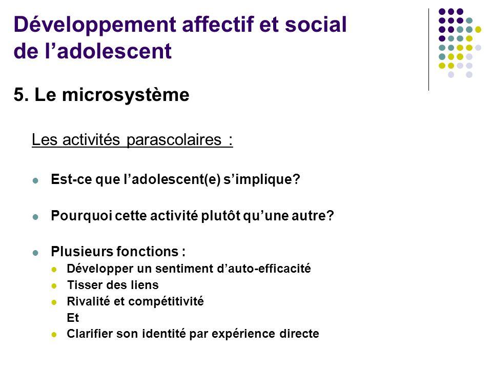 5. Le microsystème Les activités parascolaires :  Est-ce que l'adolescent(e) s'implique?  Pourquoi cette activité plutôt qu'une autre?  Plusieurs f