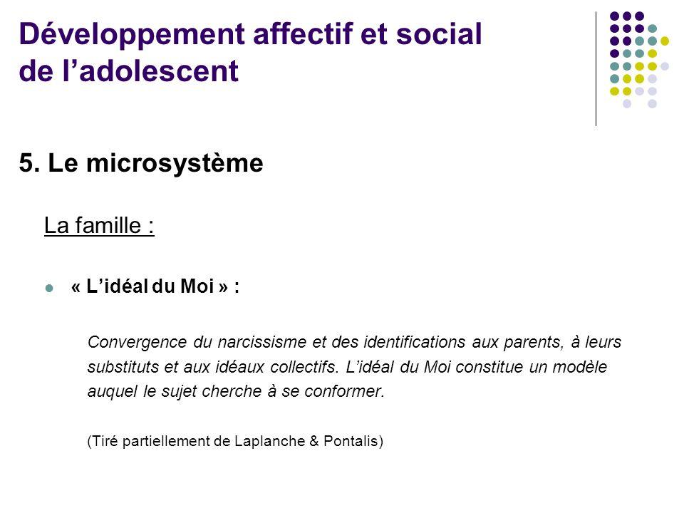 5. Le microsystème La famille :  « L'idéal du Moi » : Convergence du narcissisme et des identifications aux parents, à leurs substituts et aux idéaux
