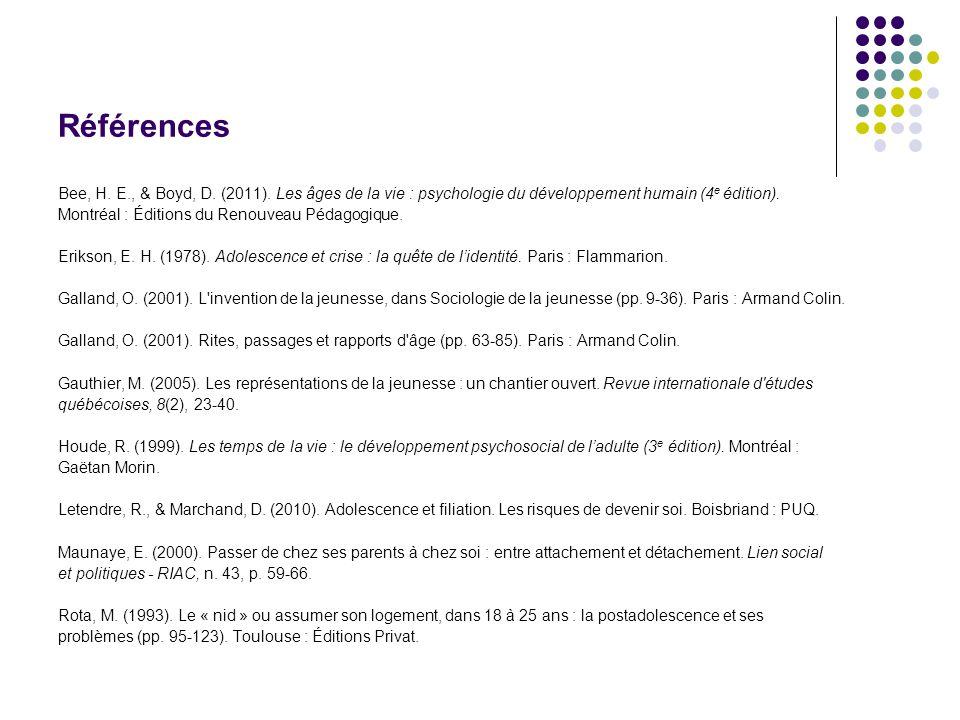 Références Bee, H. E., & Boyd, D. (2011). Les âges de la vie : psychologie du développement humain (4 e édition). Montréal : Éditions du Renouveau Péd