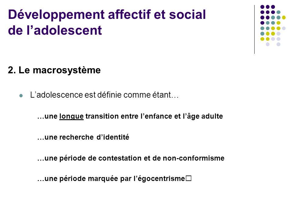 2. Le macrosystème  L'adolescence est définie comme étant… …une longue transition entre l'enfance et l'âge adulte …une recherche d'identité …une péri