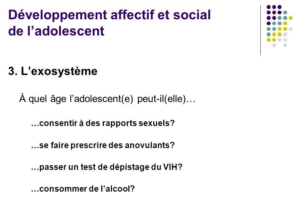 3. L'exosystème À quel âge l'adolescent(e) peut-il(elle)… …consentir à des rapports sexuels? …se faire prescrire des anovulants? …passer un test de dé