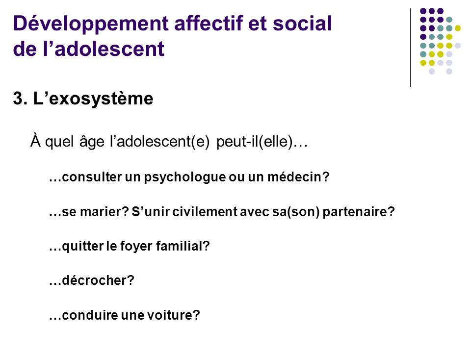 3. L'exosystème À quel âge l'adolescent(e) peut-il(elle)… …consulter un psychologue ou un médecin? …se marier? S'unir civilement avec sa(son) partenai