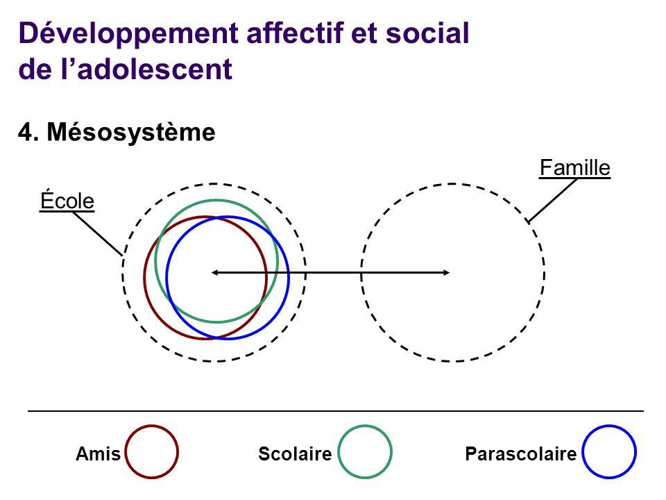 AmisScolaireParascolaire École Famille Développement affectif et social de l'adolescent 4. Mésosystème