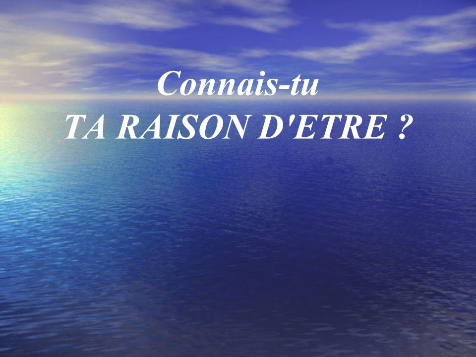 Connais-tu TA RAISON D'ETRE ?