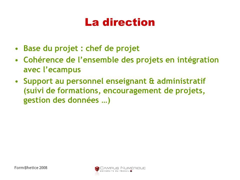Form@hetice 2008 La direction •Base du projet : chef de projet •Cohérence de l'ensemble des projets en intégration avec l'ecampus •Support au personnel enseignant & administratif (suivi de formations, encouragement de projets, gestion des données …)