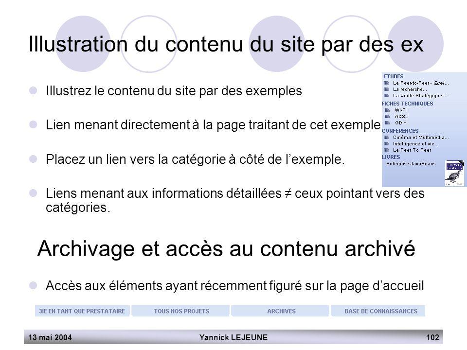 13 mai 2004Yannick LEJEUNE102 Illustration du contenu du site par des ex  Illustrez le contenu du site par des exemples  Lien menant directement à l