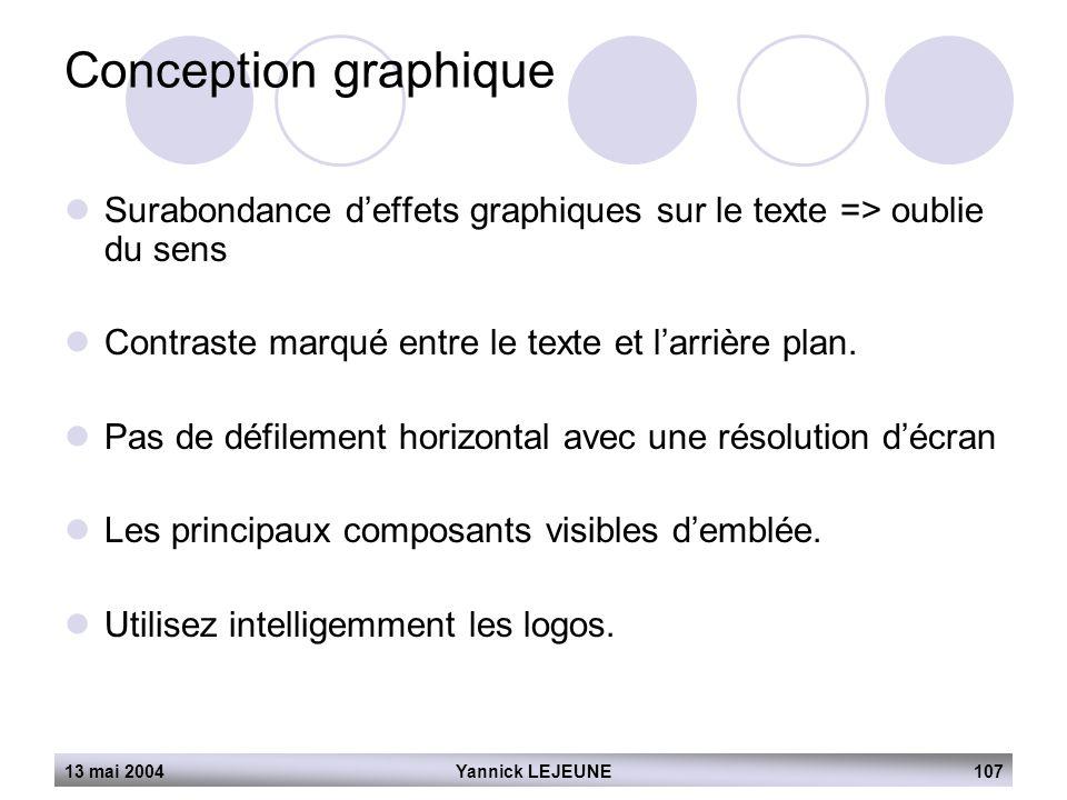 13 mai 2004Yannick LEJEUNE107 Conception graphique  Surabondance d'effets graphiques sur le texte => oublie du sens  Contraste marqué entre le texte