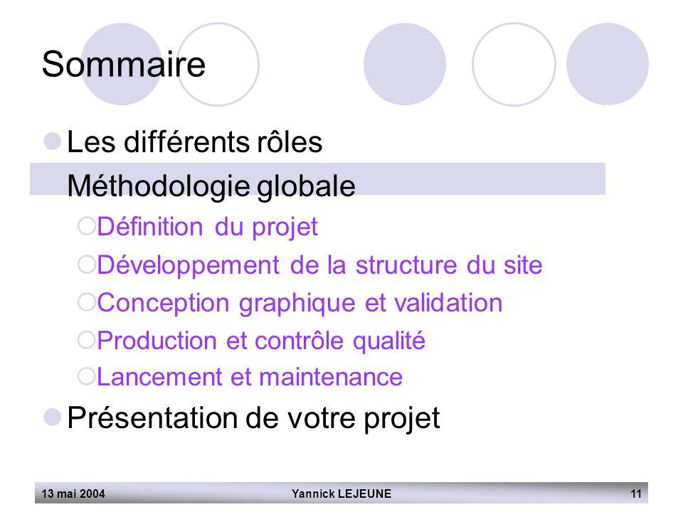 13 mai 2004Yannick LEJEUNE11 Sommaire  Les différents rôles  Méthodologie globale  Définition du projet  Développement de la structure du site  C