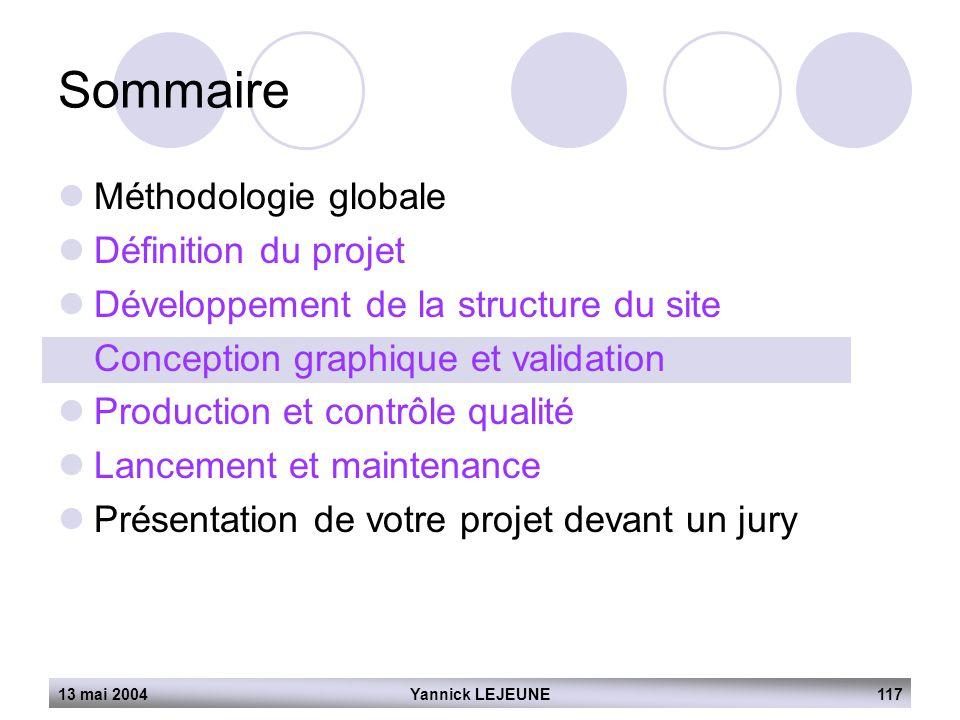 13 mai 2004Yannick LEJEUNE117 Sommaire  Méthodologie globale  Définition du projet  Développement de la structure du site  Conception graphique et