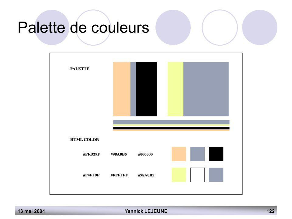 13 mai 2004Yannick LEJEUNE122 Palette de couleurs