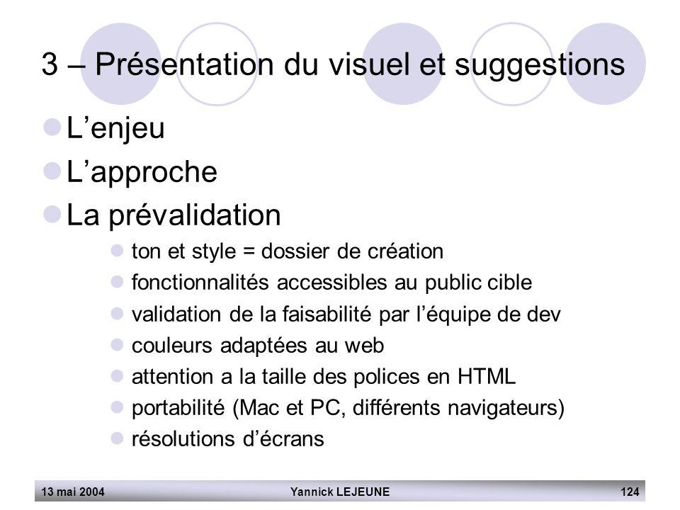 13 mai 2004Yannick LEJEUNE124 3 – Présentation du visuel et suggestions  L'enjeu  L'approche  La prévalidation  ton et style = dossier de création